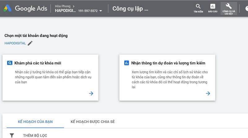 Google keywords planner là công cụ với dân làm SEO.