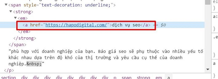Thẻ Html anchor text