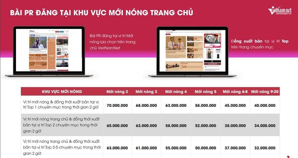 Báo giá đăng bài PR trên báo Vietnamnet mẫu 2