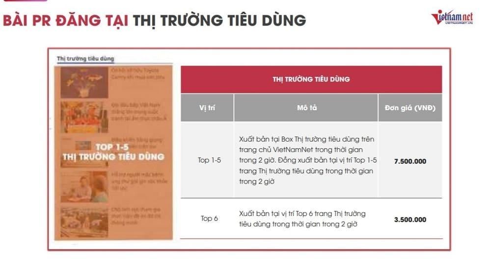 Báo giá đăng bài PR trên báo Vietnamnet năm 2021 2