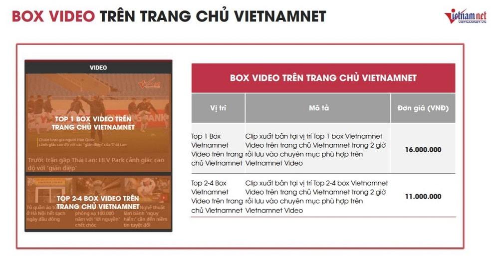 Báo giá đăng bài PR trên báo Vietnamnet năm 2021 4