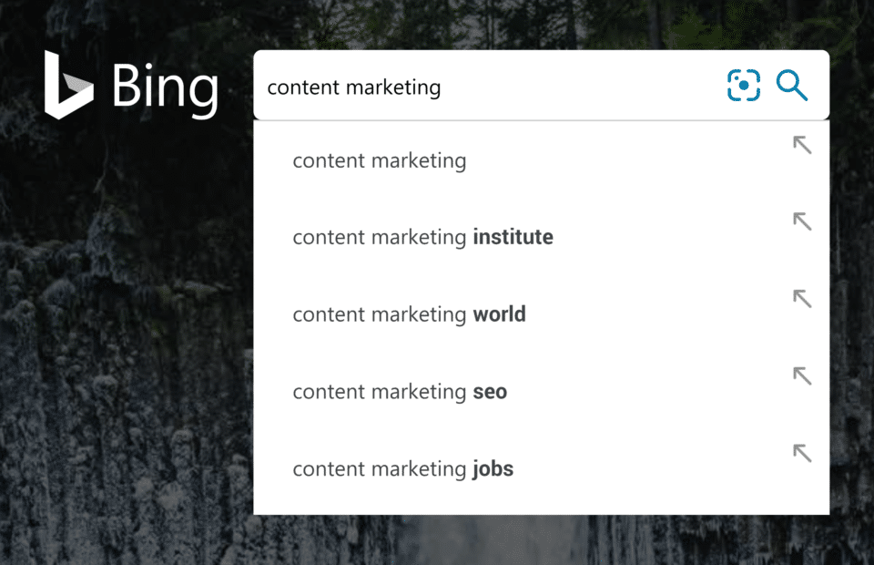 Bing search content marketing suggestions