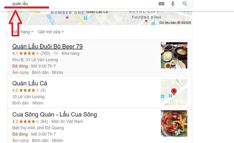 Map lên đầu khi tìm quán Lẩu