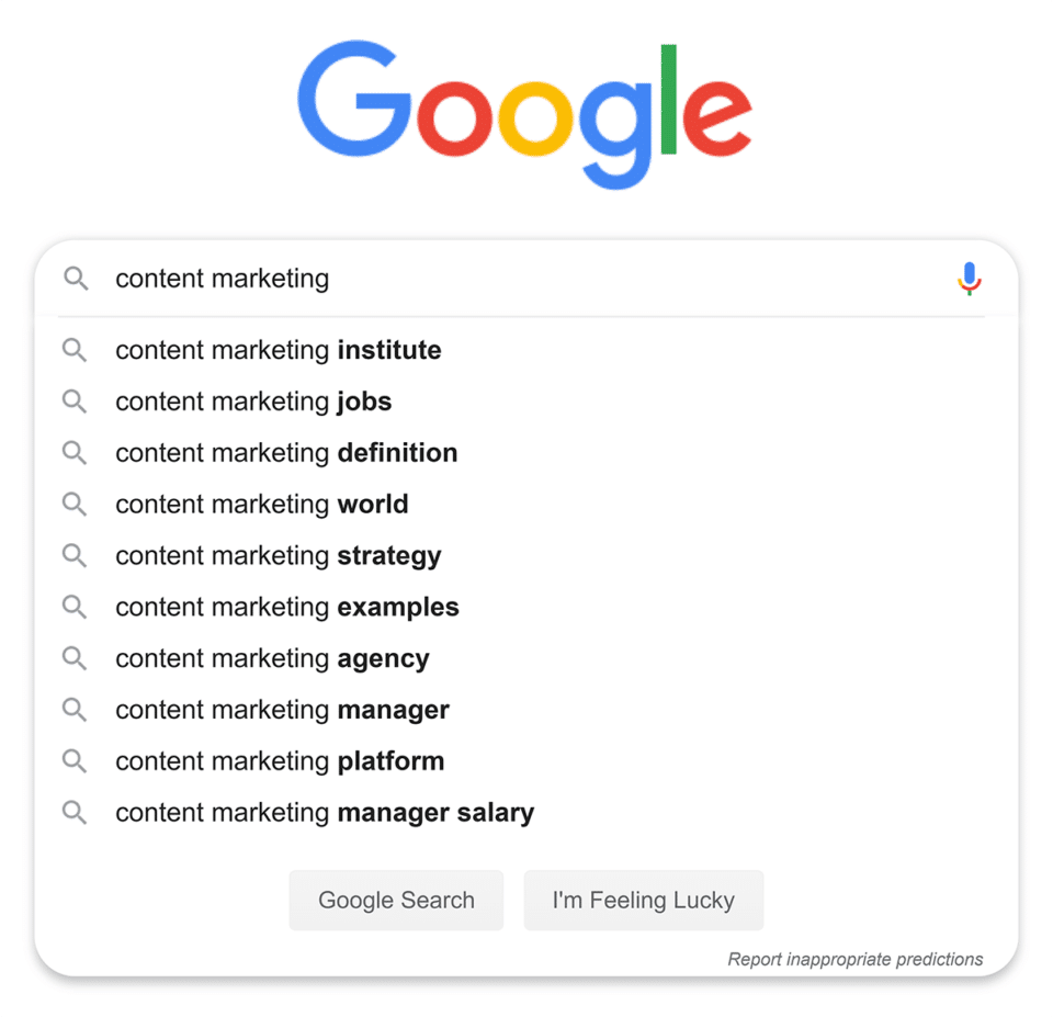 Google-search-content-marketing-suggestions