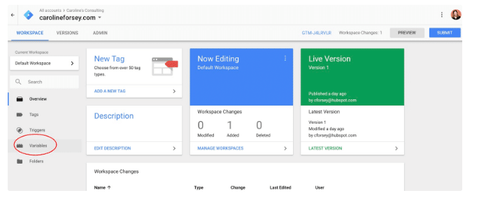 """Click vào """"Variables"""" trên trình quản lý thẻ google tag manager"""