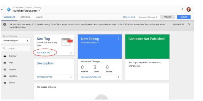 Tạo thẻ mới trong bảng điều khiển Trình quản lý thẻ của Google