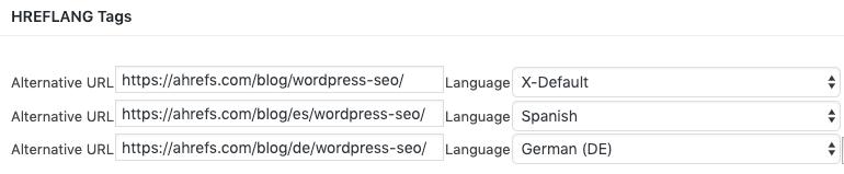 Hreflang tag WordPress SEO