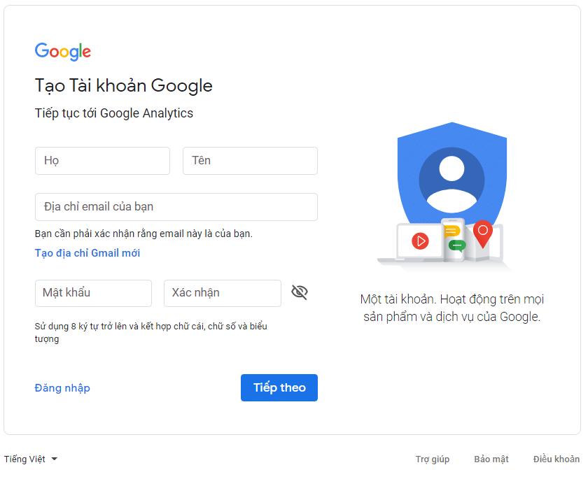 tạo tài khoản google analytics