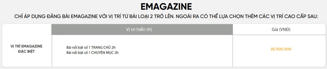 Bảng giá bài đăng trên Genk