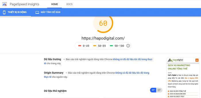 Kiểm tra tốc độ tải trang bằng PageSpeed