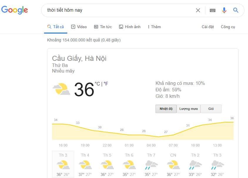 Kết quả trả về khi tìm kiếm thời tiết hôm nay