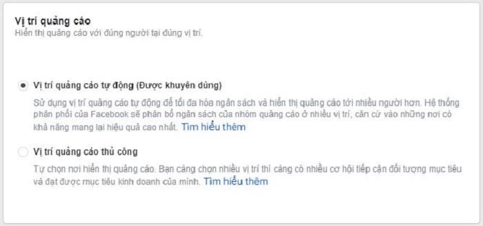 Facebook khuyên bạn nên chọn vị trí quảng cáo thủ công
