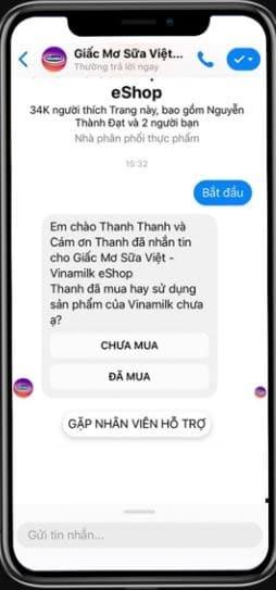 Bắt đầu cuộc trò chuyện với triển vọng qua Facebook Messenger